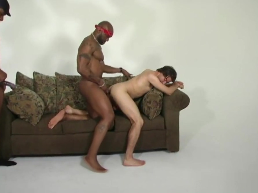 Lusty amateur white guy getting shared by black thugs he loves anal sex