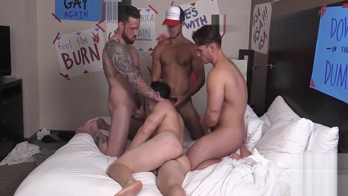 Poor sexy twink gets fucked by three big dick hunks Interracial fuck on springbreak