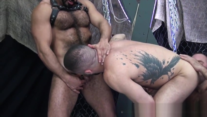 Hairy hunk drilled doggystyle in threesome Percia girl sex picture