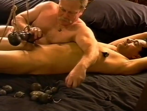 CBT stretching his balls with weights. Taboo sex in our hot family videos