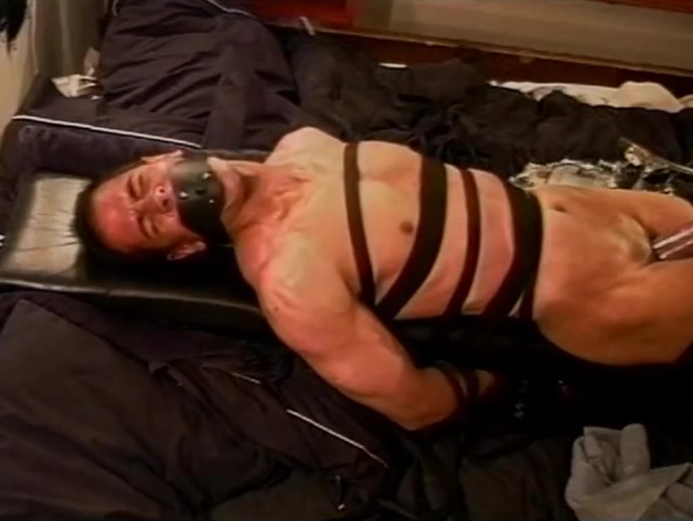 Extreme vacuum pumping CBT on leather bound and restrained muscle guy. Hot seys