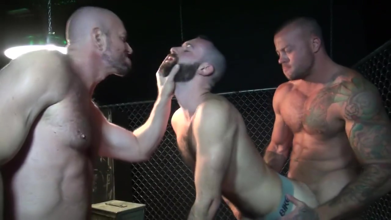 Gaytanamo - Hairy muscle bareback prison threesome Butt assholes handjob dick and interracial