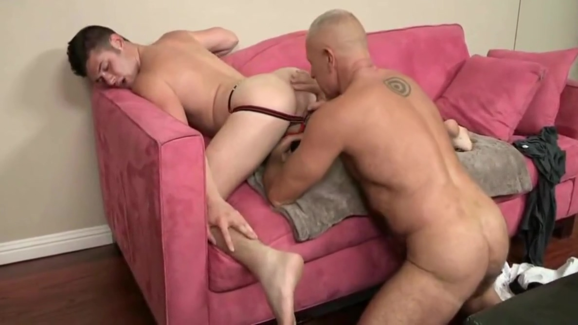Bald silver daddy and eager bottom boy German blonde tattoo fanfuck