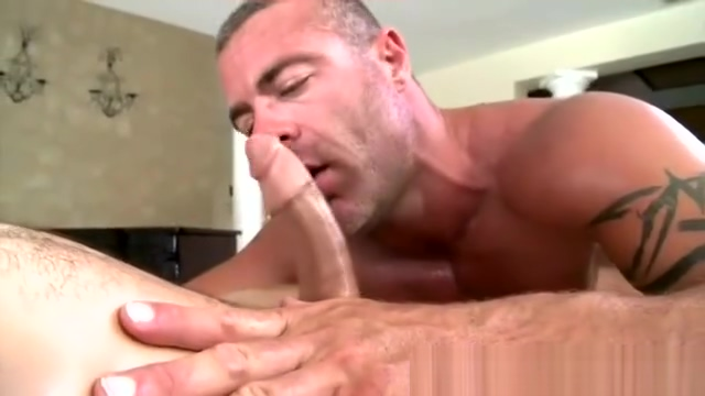 Masseuse puts a guys cock in his mouth Fake cum facial