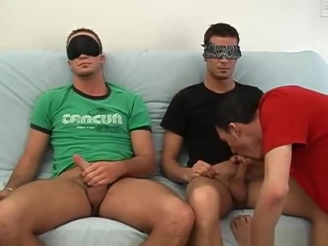 Two straight boys get blindfolded for gay blowjob British slang boobs