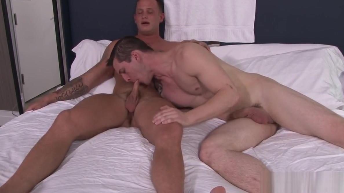 Allen leans over and begins sucking Zack gay men cum inside