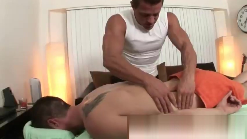 Muscled masseur gets hands on the clients body Adult nursing breastfeeding