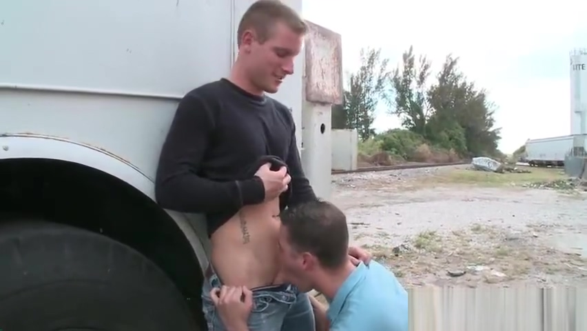 Blonde hunk gets penis sucked outdoor part5 Suck my big fat tits