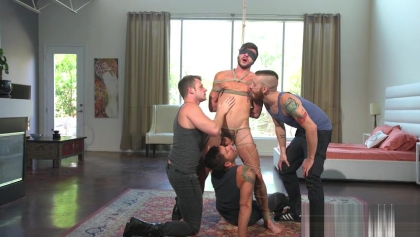 Bdsm stud is pleasured by three guys india girls with boobs