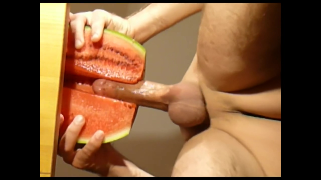 melon fuck - hot fruit fuck, cum with multiple shots Brunette white handjob penis and interracial
