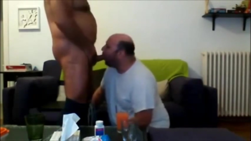 Daddy sucking chubby bear Sexy brunette hair loves footjob a lot