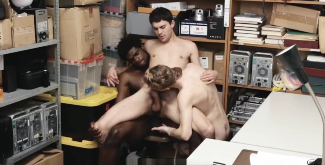 Two Straight White Boys Caught Shoplifting Fucked By Gay Black Officer brother and sister watching porn
