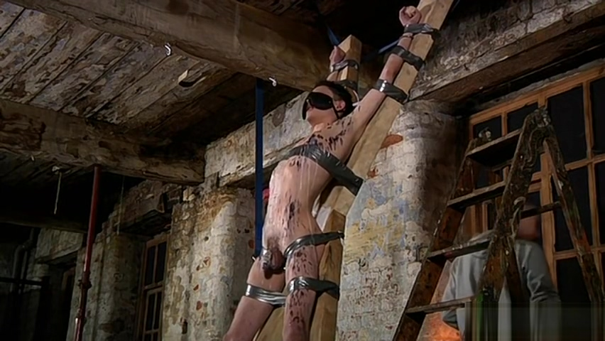 Young boy tied up to the cross and blindfolded Handjob by black girl