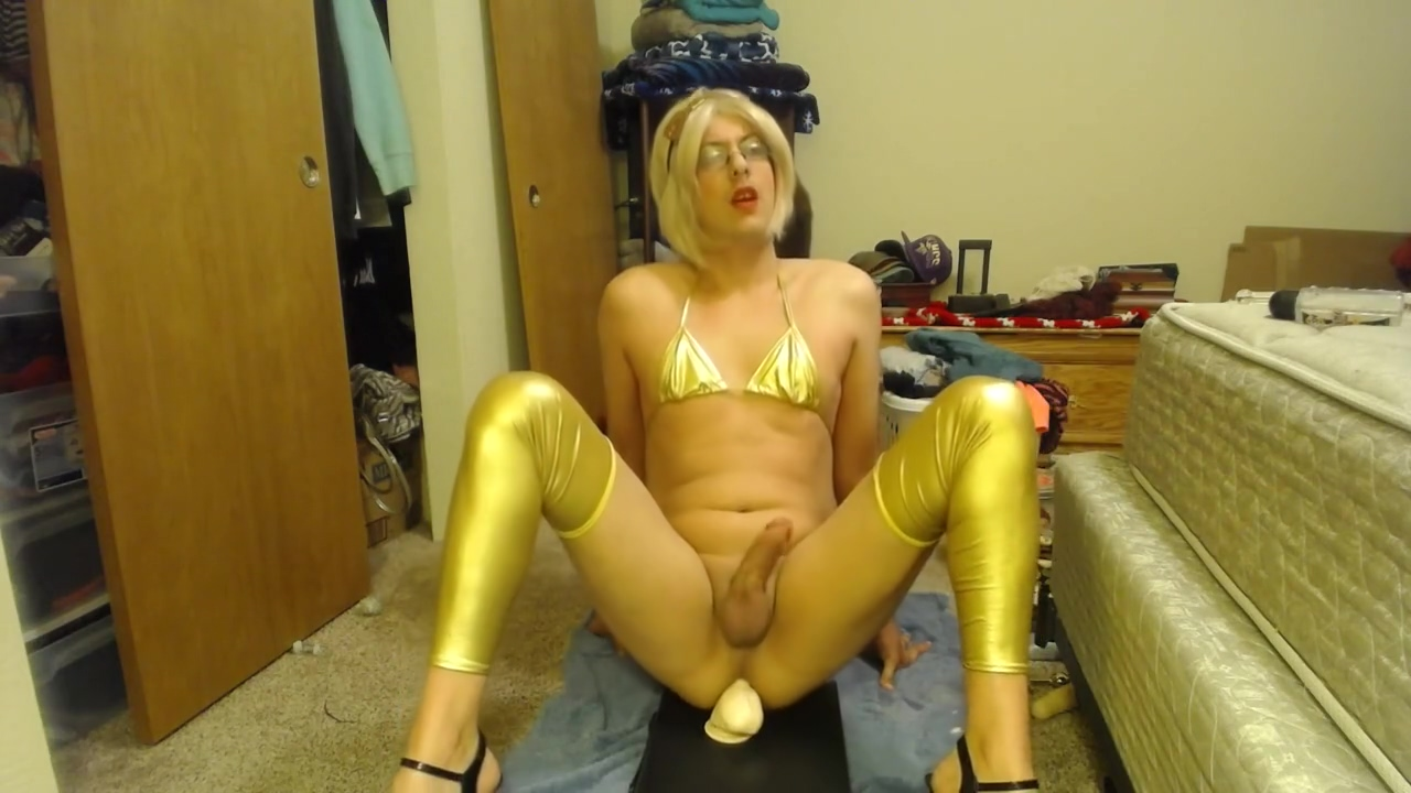 Crossdressing Slutboy poses and Fucks a Big Dildo Perfect natural naked breasts
