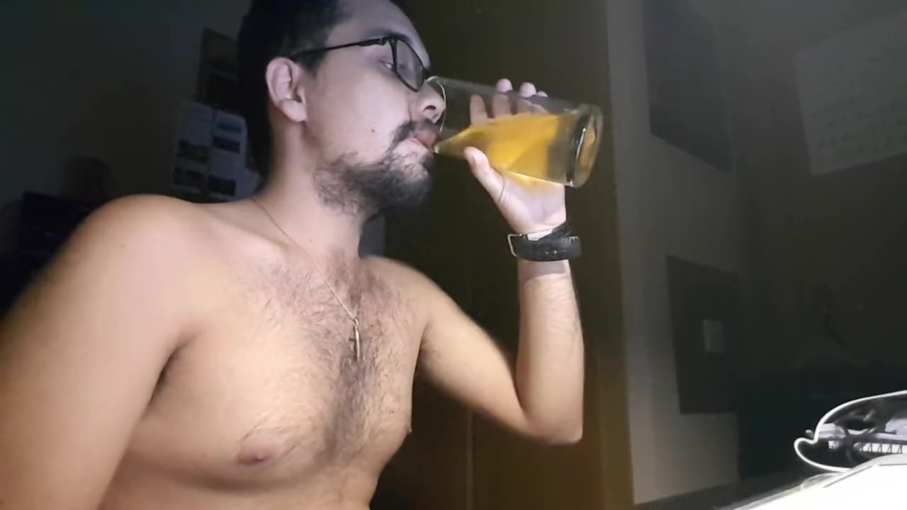 Jerking off, ass and drinking a glass of my own piss Fuck doll wife