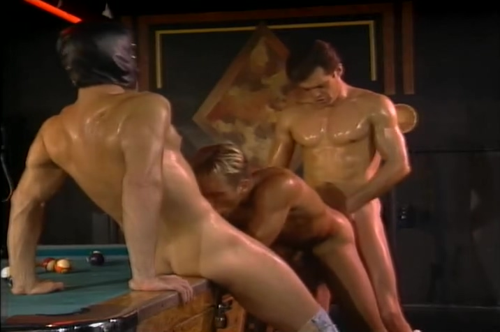 Jeff and a masked man fuck a guy at a pool hall adult kinky sex bondage equiment