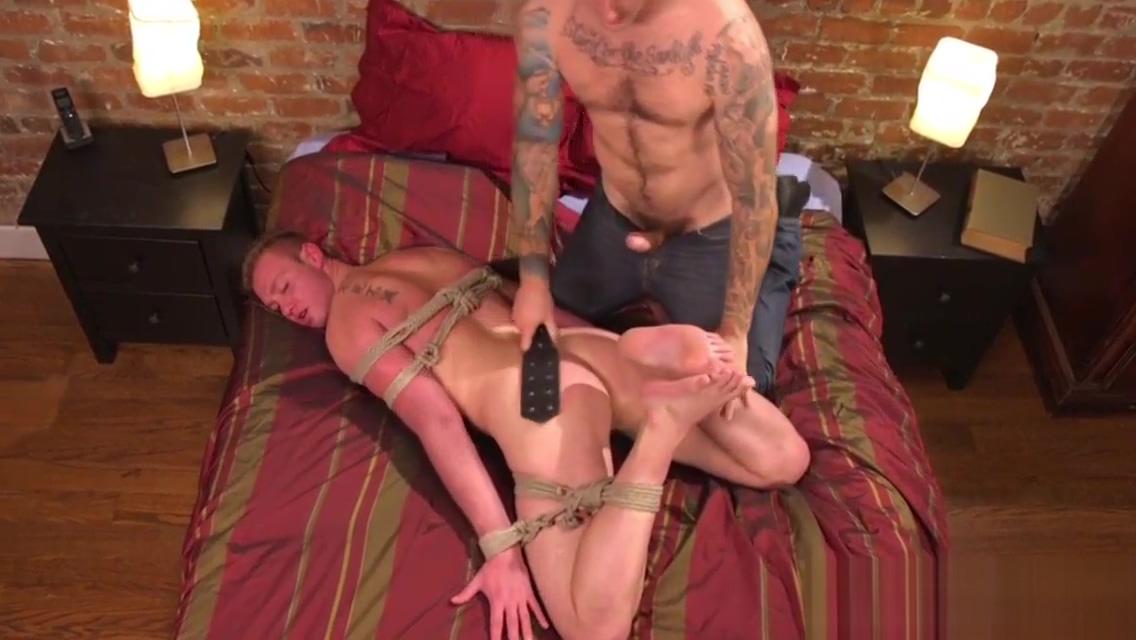 Bondage stud spanked by tattooed dom hunk mature strippimg and masturbating
