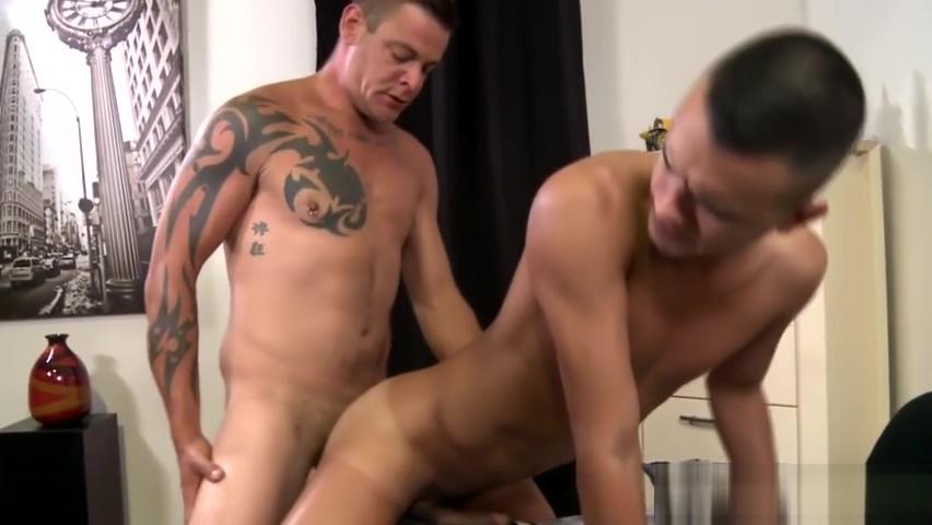 Gay tattooed hunk rides big cock Elegant gal thrills fellow with her knob riding