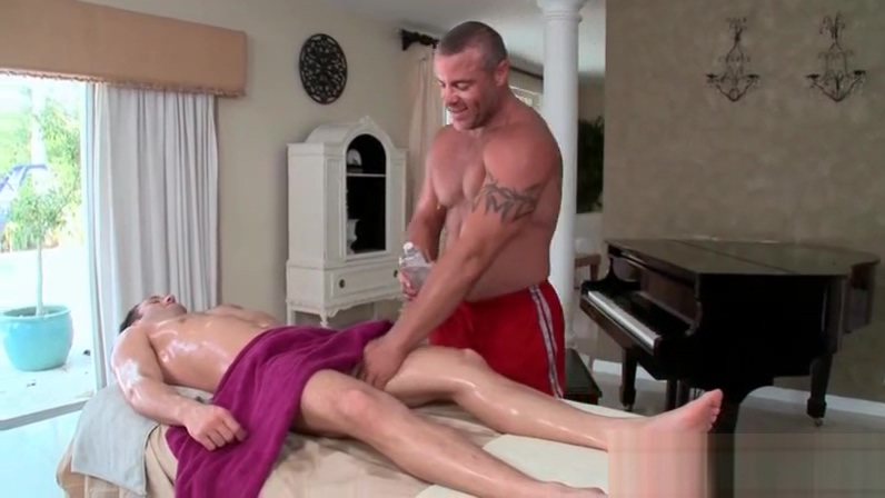 Excited gay masseur licking male ass and oiling body love and piss porn