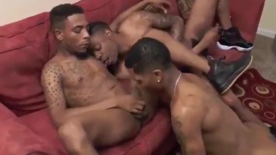Dark Chocolate gay Models Threesome eating ass and fucking Pornstars giving blowjobs