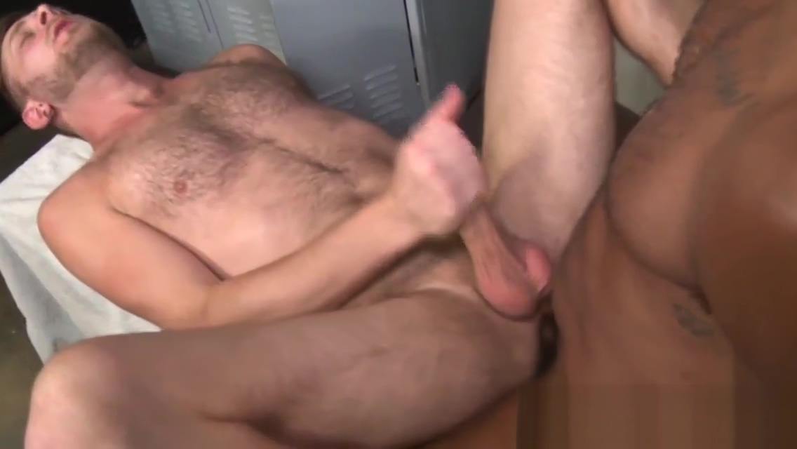 Hung bear banged by big black cock anal while flat on stomach