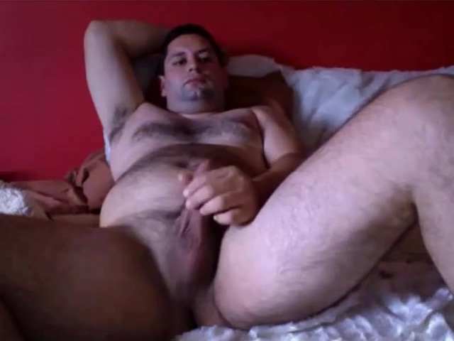 Very handsome bear wanking at hotel Close up pov facial