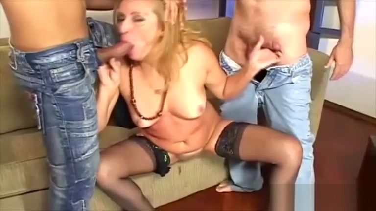 Filthy Milf Fucks Two Bi Guys Naked women in socks