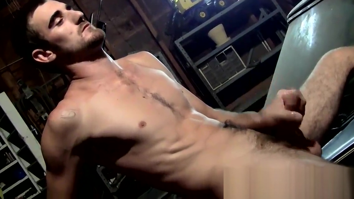 Young mechanic takes a break from work to jack off his cock Black shemale on shemale