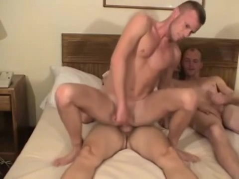 Hotel room gay threesome Naked people having sex and moving