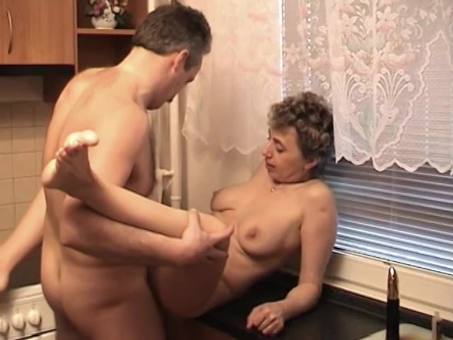 Nasty mature licking cum in kitchen Lesbian classy lingerie MILF pussylicking