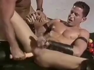 Leather Group Sex nacked man in a girlstrip