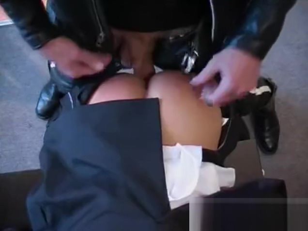Motor Bike Courier in Leathers has his way with Suited Businessman Milf quicky afternoon