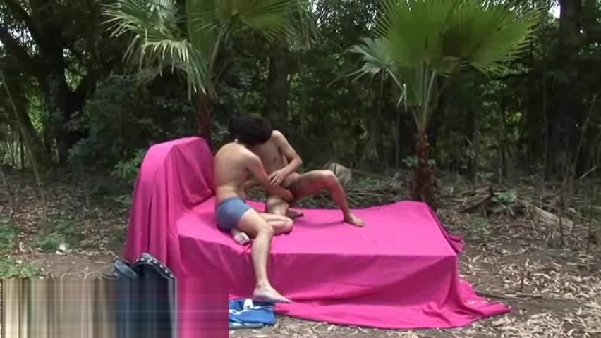 Jerking outdoors twink interrupted by a passer-by Black guy on new girl