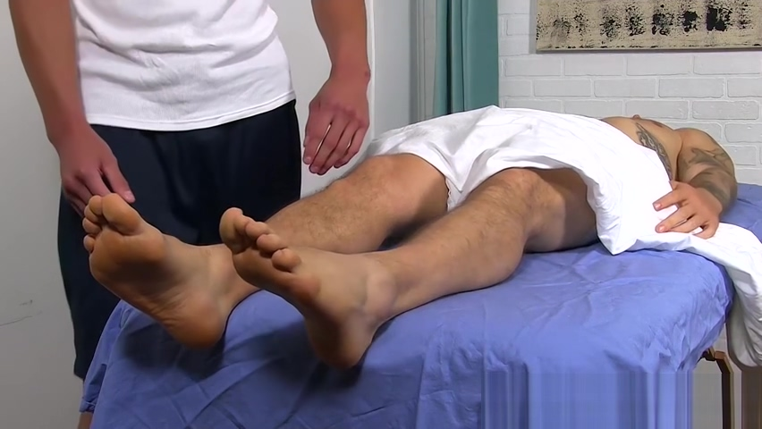 Handsome tattooed jock feet massaged by hunky gay Nude asian women and white men