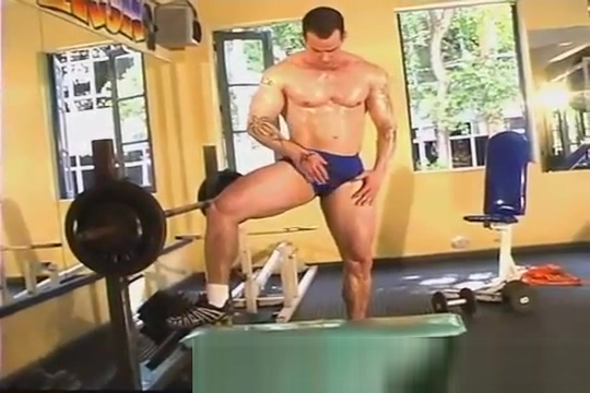 jockstrapped muscle stud in the gym Pipe game