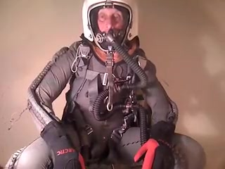 Dominique in full pressure gear in altitude chamber Long jumpsuits for women sexy