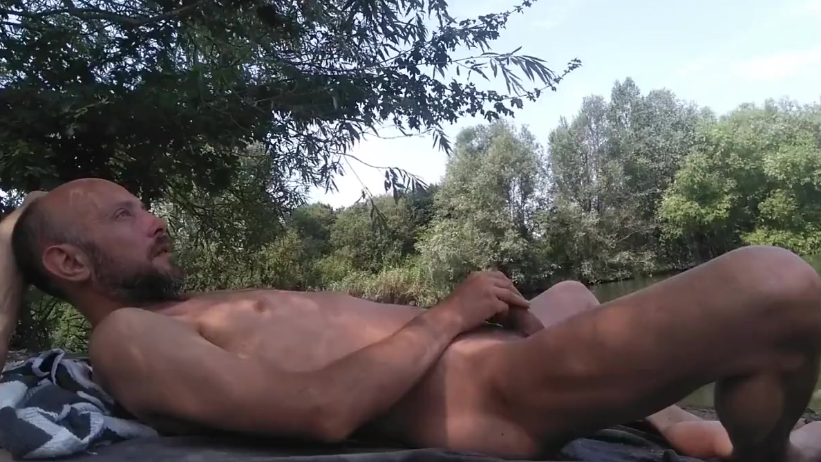 Crazy dude masturbating full nude near a public canal Girls playing with their big boobs