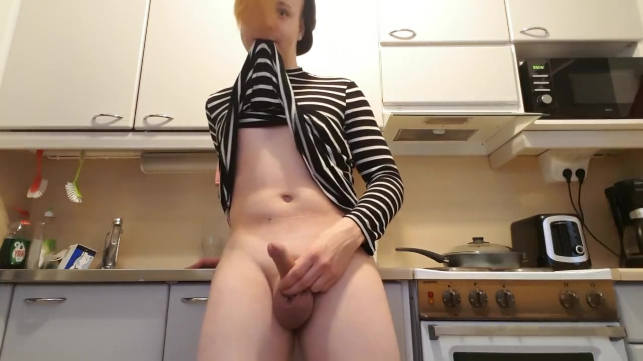 Striped thick boy shows what he got! Slender milf scarlet gets naked and masturbates