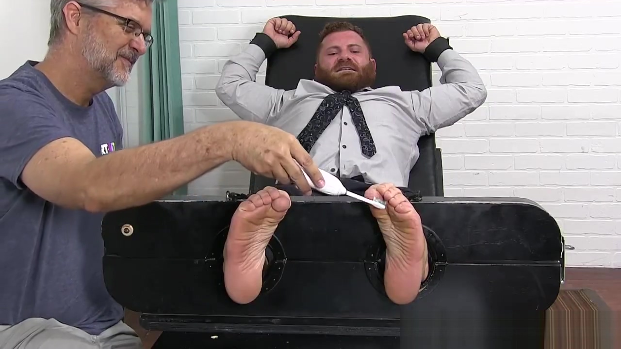 Bearded businessman tickled hard while bound and helpless wet pussy on wet pussy