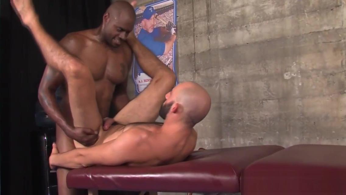 Buff black masseur jizzes Mouth full of cock