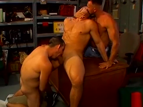 Horny buff gay daddies rough threesome fuck in the garage Escort in Slough