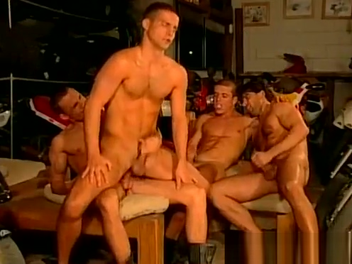 Muscled biker dudes rough and raw fuck feast gay orgy Starfire naked kissing robin