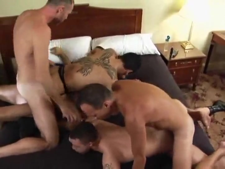 Orgy includes double anal Females hands on hips legs apart