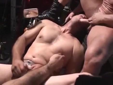 Muscular threesome in mechanic shop Girl pulls gun from boobs gif