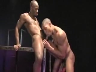 Awesome black studs pound each other hard Side view ass pussy tits