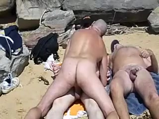 Beach Threesome biggest cock ever in her ass