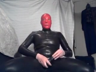 Rubber solo session Tits milked by force