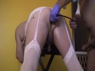 Married crossdresser used. Pink rubber cock in shaved matured piss hole