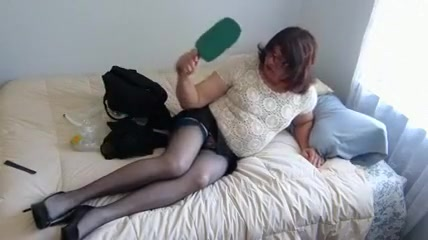 girlsy Training in a new top and Blue Nylons Spunked pussy