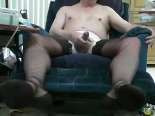 Vintage black ff stockings and double cum! Gilf bukkake tube